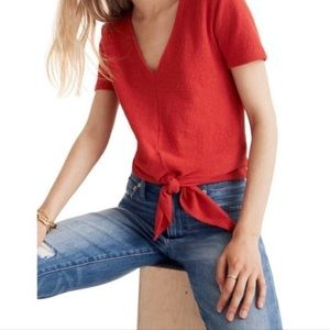 Madewell V-neck Textured Front Tie Top